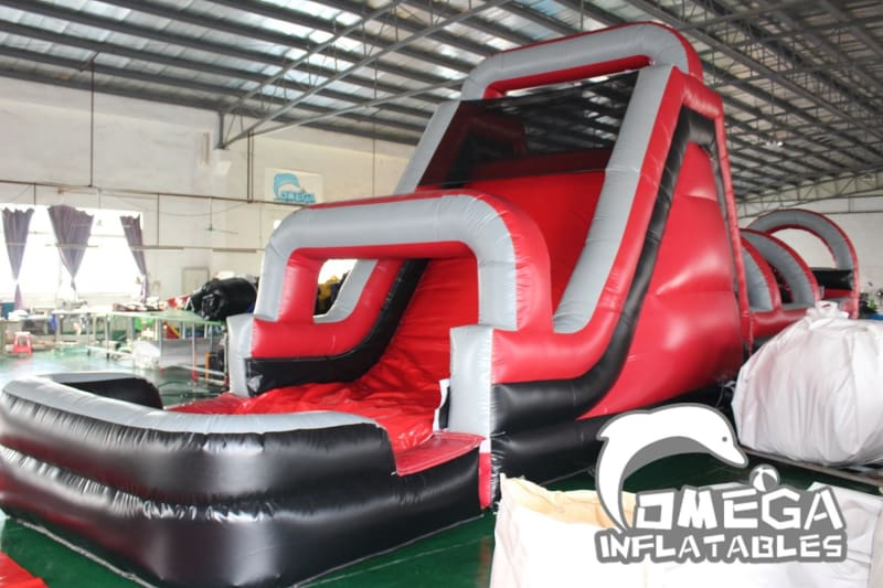 Red & Black Inflatable Climbing Obstacle Course with Pool
