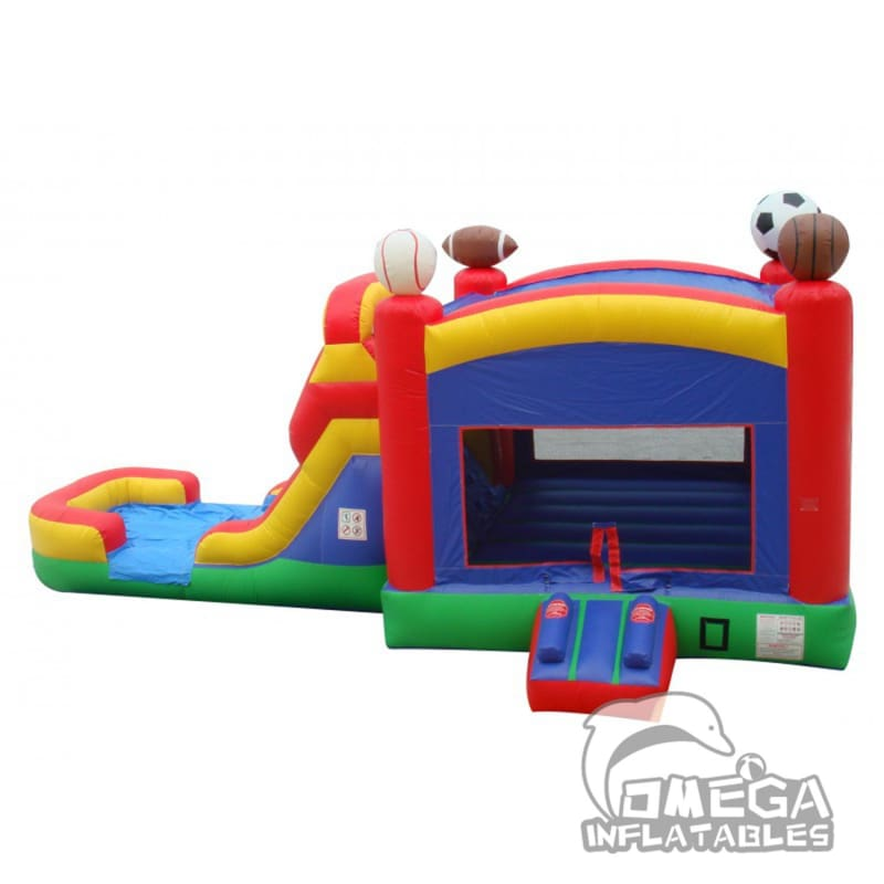 Sports Bounce House Wet or Dry Slide Combo