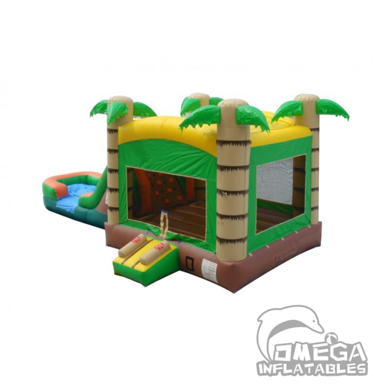 Tropical Bounce House Wet or Dry Slide Combo