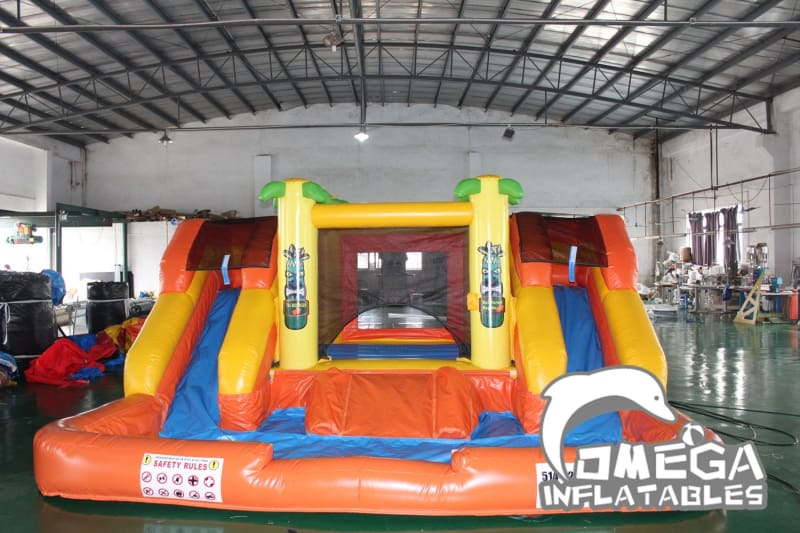 Tropical Bouncy Slide with Big Pool