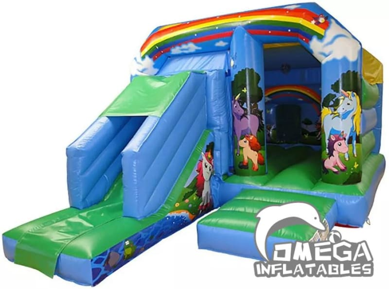 Unicorn Themed Disco Bouncy Castle With Slide
