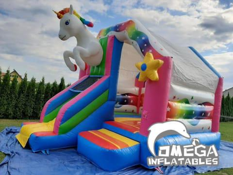 Inflatable Unicorn Bouncy Castle with Slide Inflatables for Sale