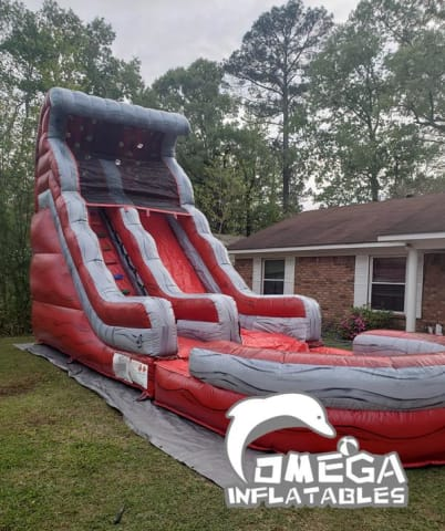 18FT Marble Red Commercial Inflatable Water Slide