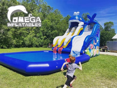 Commercial Inflatable Whale Water Slide with Pool