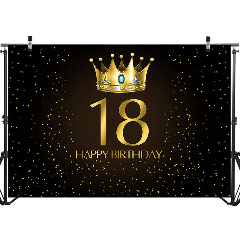 18th Birthday Adult Party Photo Background Gold Crown Gem Little Dots Black Photo Background