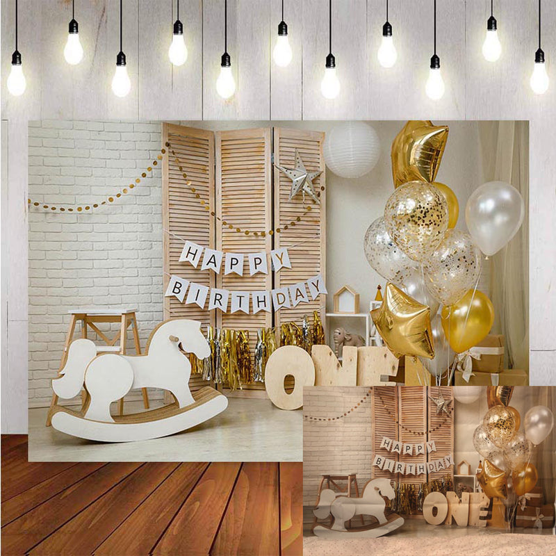 1st Birthday Photography Background Birthday Party Balloon Flowers White Toy Bear Backdrop Decor Backdrop Photo Studio