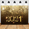 2021 Happy New Year Photography Backdrops Christmas Background Backdrops Glitter Golden Shine Props Xmas Vinyl photo Backdrop