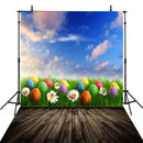 April spring sky backdrop Easter eggs photo background for photography wooden floor photo background vinyl