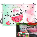 Watermelon Themed One in a Cocomelon Backdrop Kids Happy 1st Birthday Party Banner Watercolor Summer Fruit Photography Background for Girls Picture