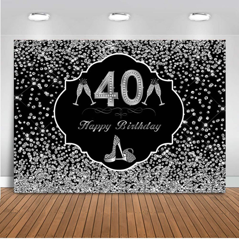 40th Silver glitter backdrop for party decoration Happy birthday theme party background for photo studio High heels Champagne