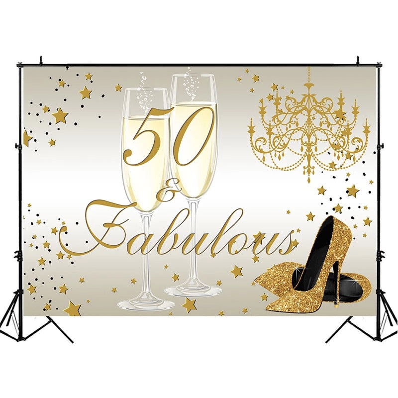 50th Birthday Photo Background Golden champagne glitter high heels Background for Photo Elegant lady's 50th birthday Backdrop