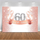 Customized Birthday 60th happy birthday party backdrop for photography pink gold gliiter background for photo booth studio air balloon back drop