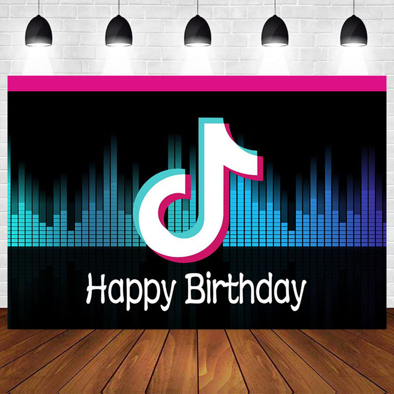 Custom Name Musical Symbol Tok Tik Background For Photo Studio Beating Audio Frequency Birthday Party Photography Backdrop Photo Booth
