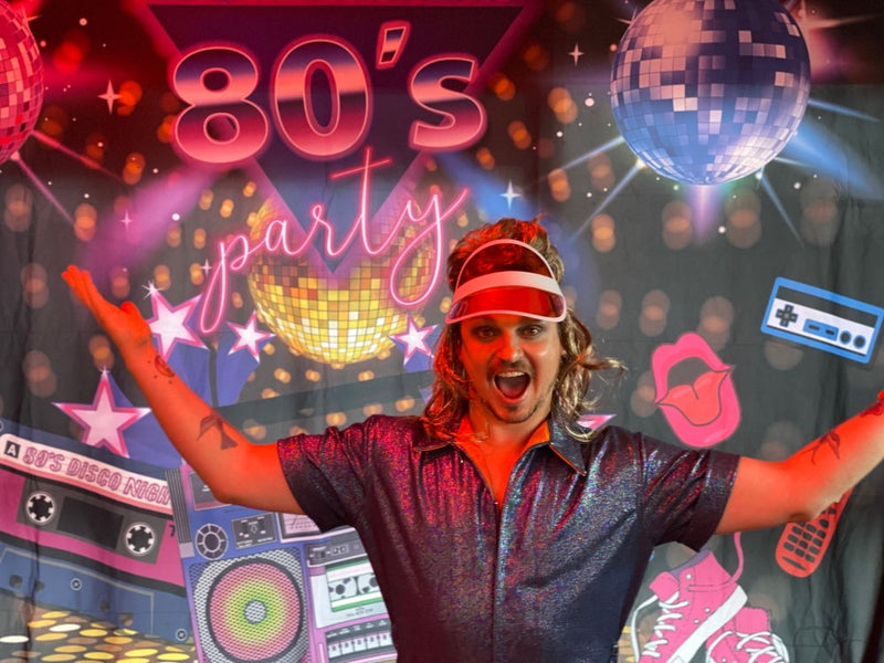 80s Party Backdrop Disco Theme Retro Style Photo Backdrop 80's Birthday Background Sign 1980's Neon Eighties Photobooth Props