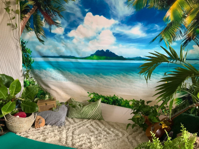 Summer Tropical Beach Backdrop Hawaii Ocean Trees Photography Background for Picture Blue Sea Sky Sunshine Luau Themed Party Decorations Photo Booth Studio Props