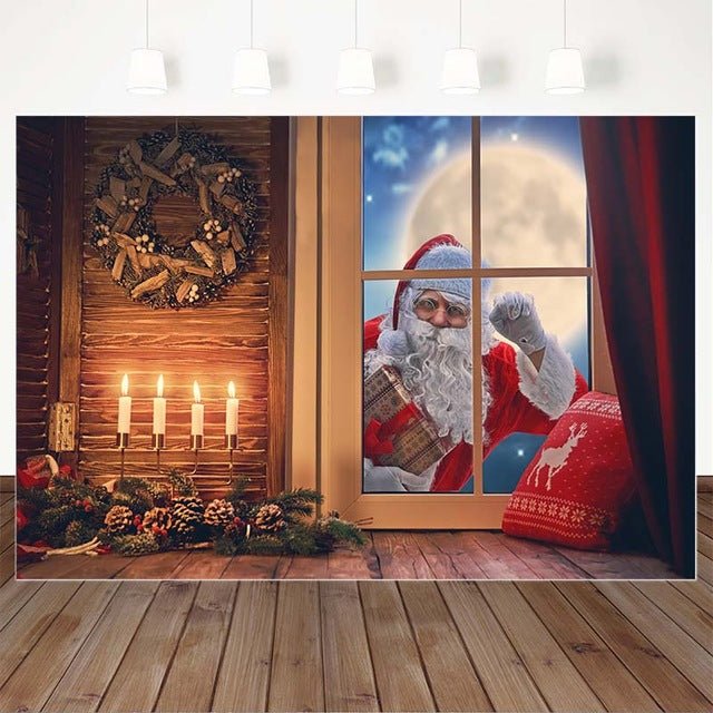 Christmas Snow Moon Background Santa Claus Gift Children Portrait Backdrops for Photography Lit Candle Wreath Decorations Props