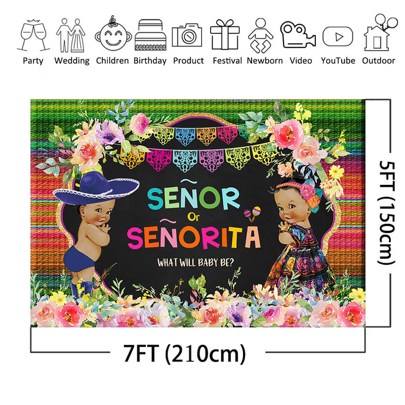 Fiesta Gender Reveal Party Backdrop Mexican Fiesta Senor or Senorita Baby Photography Background He or She Party Background
