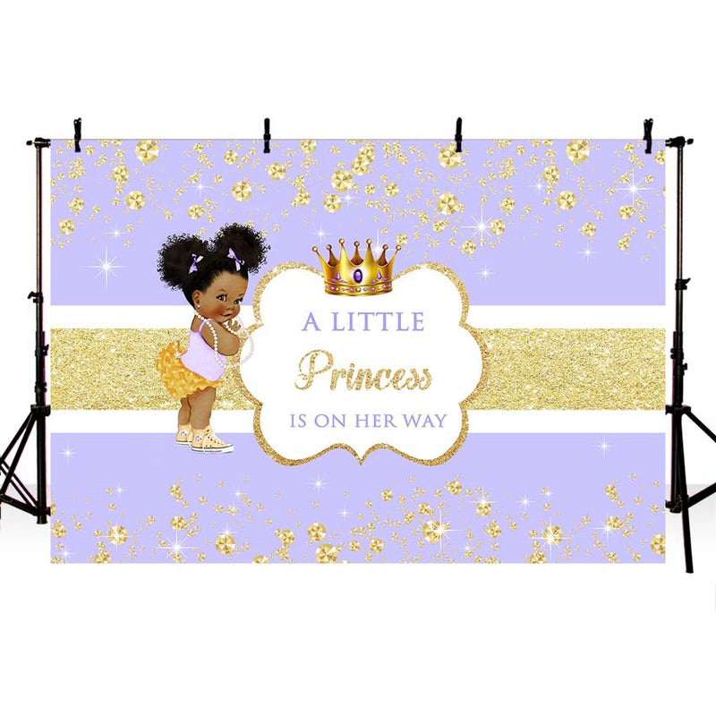 African American Baby Shower Background for Photography A Little Princess Gold Crown Party Banner Photo Booth Backdrop