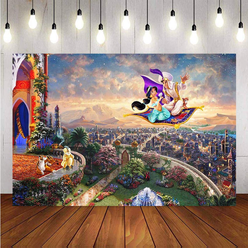 Aladdin Princess Photography Backdrop for Photo Studio Pink Curtain Purple Turquoise Birthday Party Photo Studio Backdro