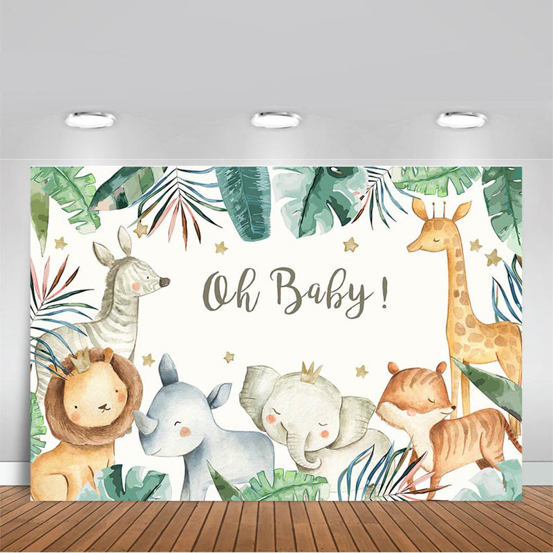 Animals Baby Shower Photo Background Safari Birthday Party Decoration Oh Baby Banner Backdrop for Photography Photo Studio