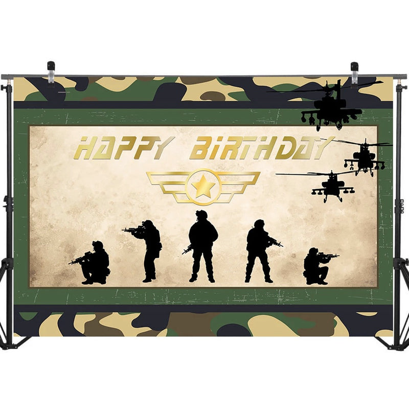 Battle Party Photography Background Fortnite Army Sign Happy Birthday Photography Backdrops Boy's Birthday Party Banner Decorate Photo Background