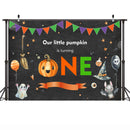 Baby One Birthday Photographic Backdrops Pumpkin Halloween Style Background Bat Ghost Black Balloons Backdrop for Photo