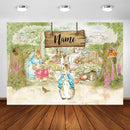 Customized Name Baby Peter Rabbit Birthday Party Backdrop Spring Easter Bunny Birthday Custom Decorations Banner Backdrop for Photography