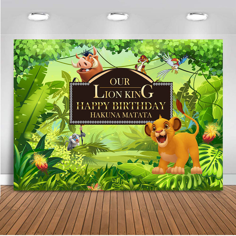 Baby Simba Lion King Backdrop Background Kids Children Boys Birthday Party Photography Photo Vinyl Decoration Safari Jungle