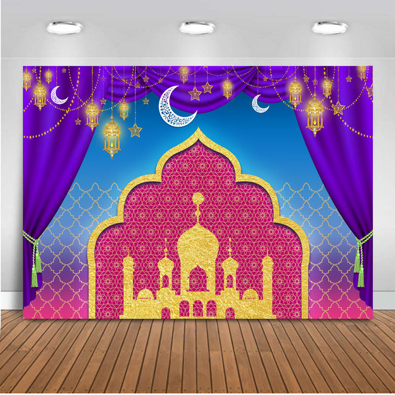Backdrop for photography Aladdin birthday Party Background decorations Nights Moroccan birthday Banner Gold Palace View Wall