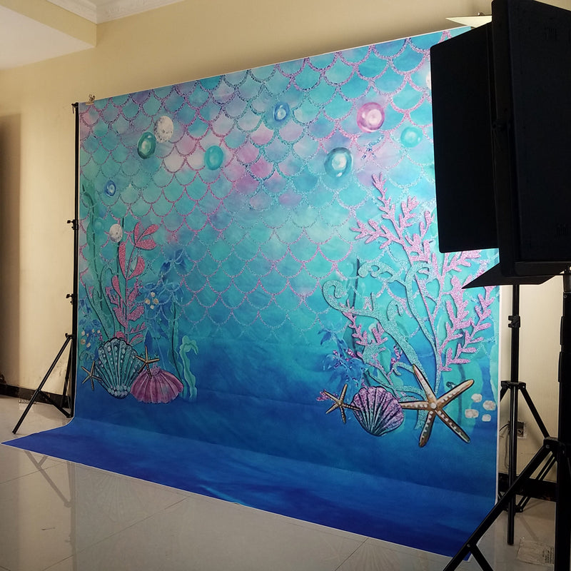 Litter Mermaid Photography Backdrops Blue Ocean Vinyl Photography Backdrop Aquarium Shell Photo Booth Props