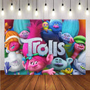 Birthday Party Cartoon Trolls Baby Girl Customize Photo Backgrounds Photocall Banner Photography Backdrops for Photo Studio