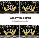 Happy Birthday Backdrop 30th 40th 50th 60th Glitter Champagne Pearl Mens or Women Birthday Party Decor Photography Background Black Birthday Banner Props
