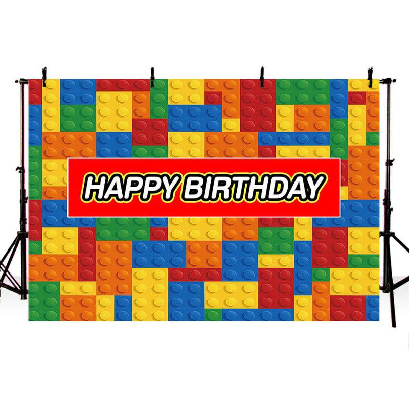 Birthday Party Decoration Backdrop Building Blocks Bricks Kids Birthday Banner Photo Background Customized for Cake Table