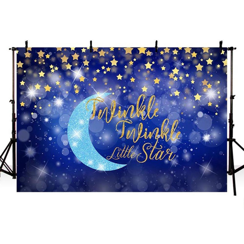 Twinkle Twinkle Little Star Backdrop for Picture Moon Baby Photo background for photo studio Bokeh Blue Background Stars Kid