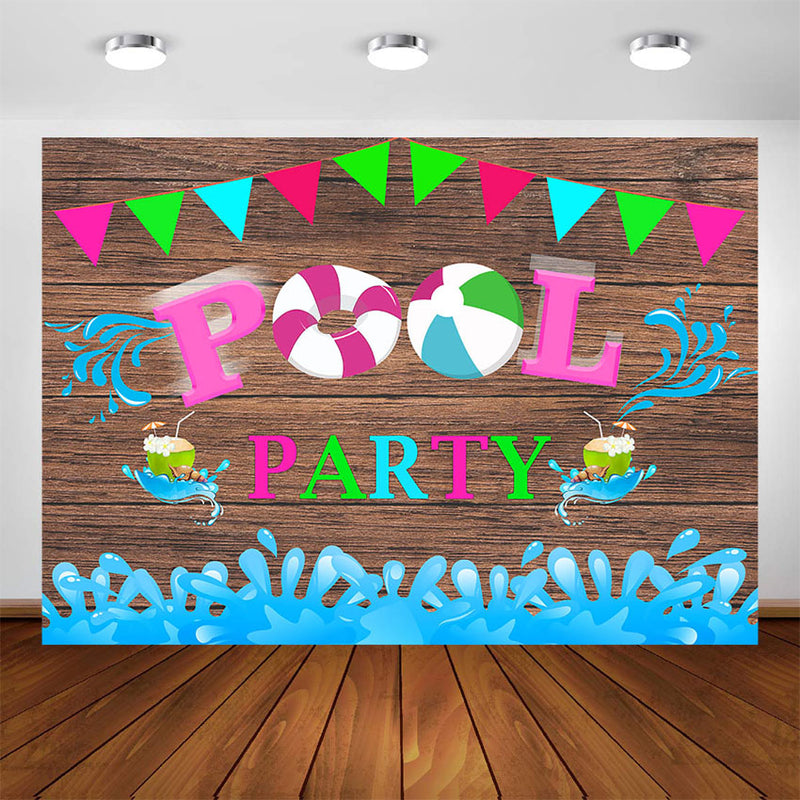 Birthday Pool Party Backdrop Decoration Swimming Pool Birthday Party Banner Supplies Photography Background Photo Booth