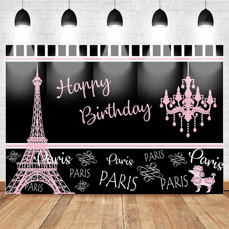 Birthday Pairs Backdrop for Photography Eiffel Tower Birthday Party Cake Table Decor Background Black Pink Backdrop