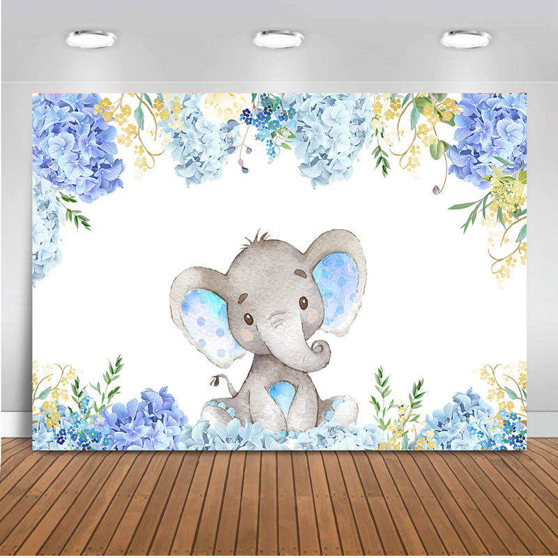 Blue Elephant Themed Baby Shower Backdrop Flowers Elephant Birthday Background Boy or Girl Happy Birthday Photography Backdrop