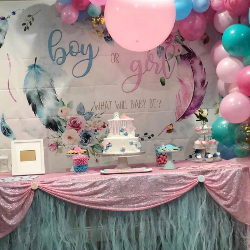 Photo Backdrop Boy or Girl Gender Reveal Party Backdrop Pink Blue Feather Flower Baby Shower Party Decoration