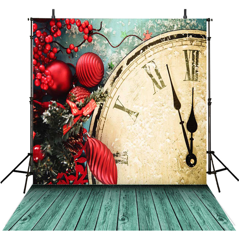 photo backdrop New year bell -photo backdrop clock -photo booth backdrop wood floor -photo backdrop red -photography backdrops kids