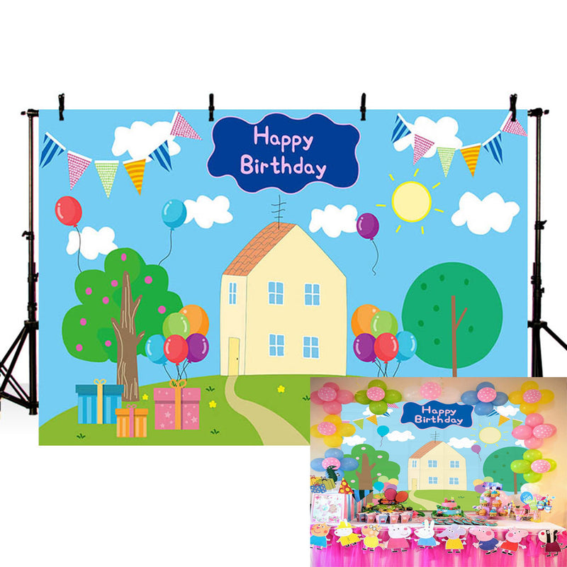 Peppa Pig Photo Backdrop Birthday Photography Studio Backdrop for Baby Shower Newborn Party Photo Booth Props Cake Table Decor Banner