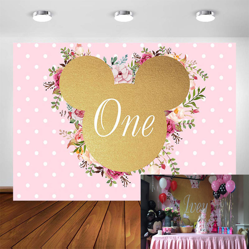 Customized Cartoon Photography Backdrops Pink Minnie Mouse Birthday Party Backdrop Decor Photo Booth Background