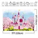Castle Backdrop for Photography Pink Flowers Princess Girl Birthday Baby Shower Fantasy Party Banner Background for Photo Studio