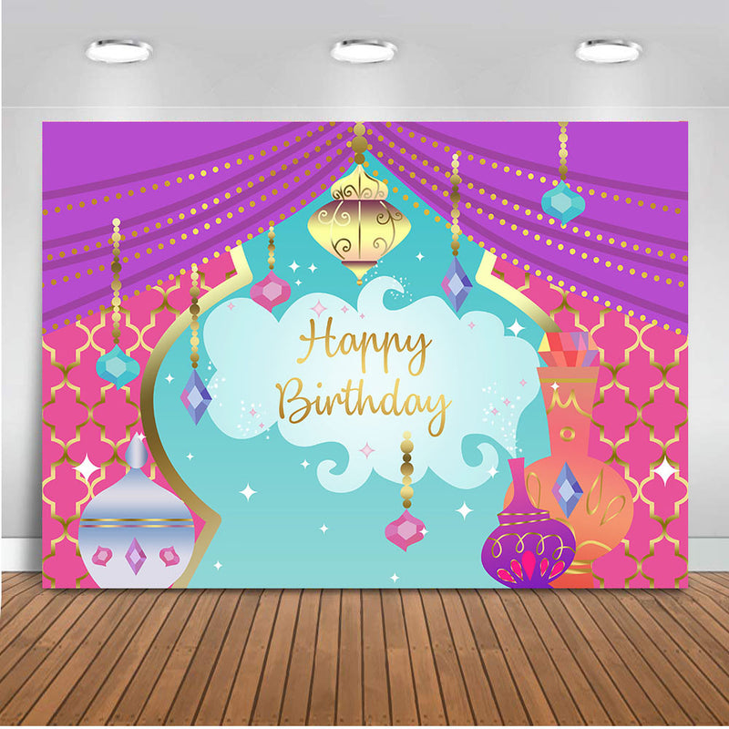 Children birthday Aladdin decorations Backdrop for photography Nights Moroccan Party Background birthday Banner Curtain Prop