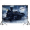 Snow Train Track Photography Backdrops Winter Night Moon Background Backdrops Outdoor Props Xmas Vinyl photo Backdrop For kids