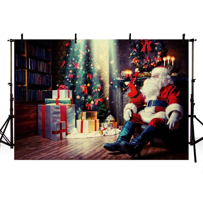 Christmas Backdrop Santa Claus Gifts Toy Indoor Children Portrait Photography Background for Photo Studio Photophone