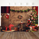 Christmas Backdrop Wood Wall Wreath photography Backdrops Christmas Trees Red Sock Gift Family party Background Photobooth