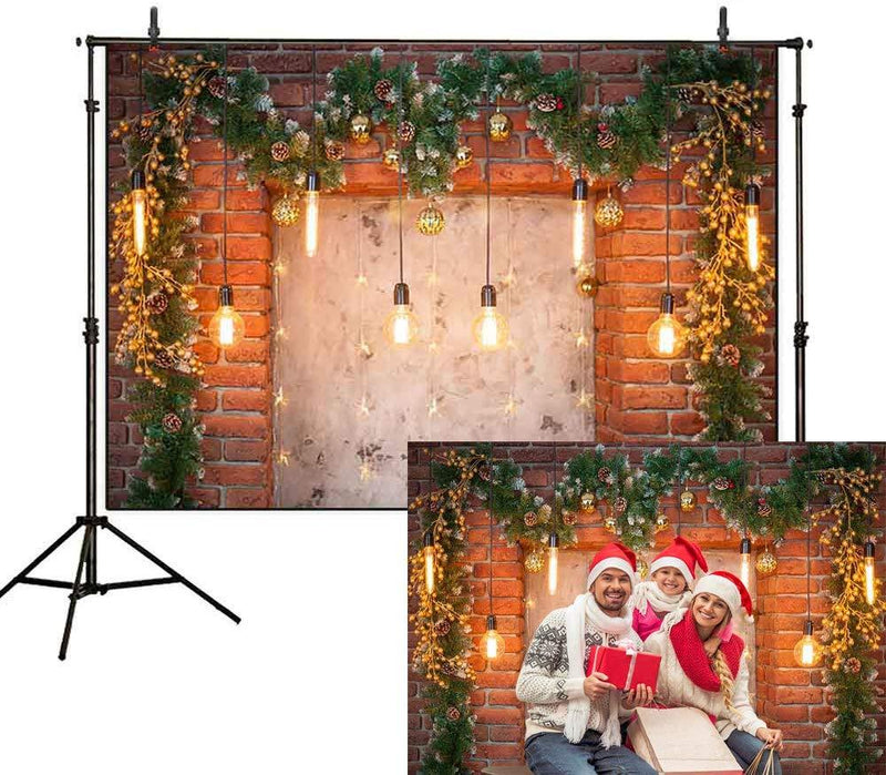 Brick Wall Photography Backdrops Christmas Theme Flower Background Backdrops Decoration Props Xmas Vinyl photo Backdrop Lighting