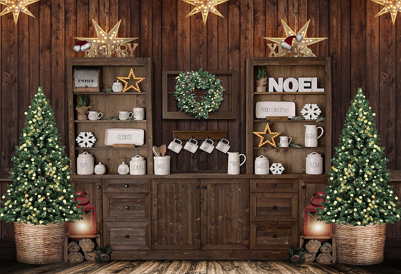 Christmas House Photographic Background ChristmasTree Street Light Photography Backdrop Night Family Party Backdrops