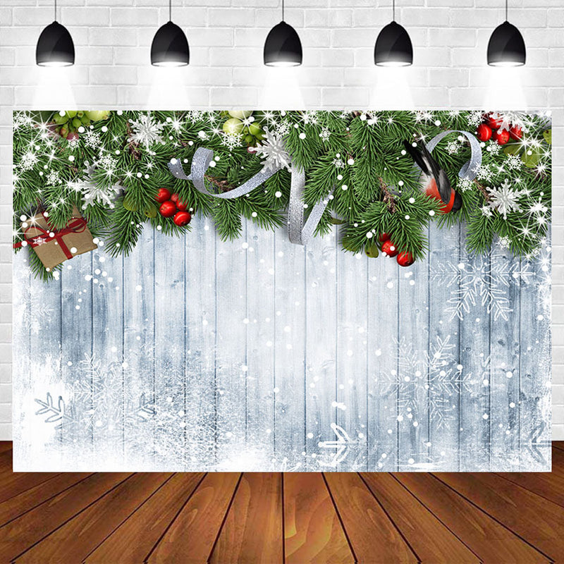 Christmas Party Wooden Board Snowflakes Pine Branch Photography Backdrops Photo Backgrounds Winter Portrait Photophone