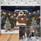 Christmas Snow Photography Backdrops Wooden Door Pine moon Decor Backdrop Children Portrait Photocall Background Photo Studio